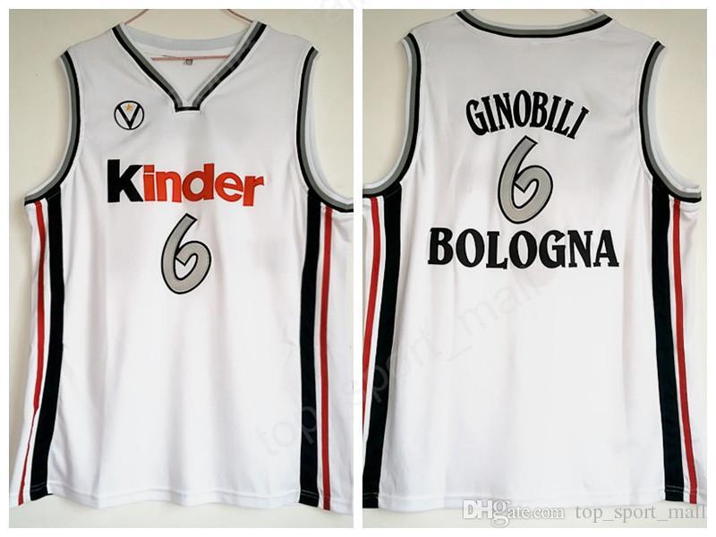 College 6 Manu Ginobili Jersey Men Basketball University Kinder Bologna  Jerseys Team White Color Breathable For Sport Fans Manu Ginobili Jersey  Kinder ... 2935e4c01