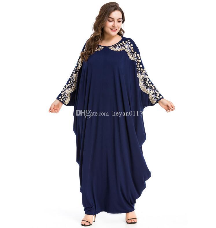 4c9d022f3a9d Acquista Donna Casual Abaya Musulmano Ricamo Paillettes Maxi Abito Manica  Pipistrello Kimono Lungo Abito Robe Ramadan Medio Oriente Arabo  Abbigliamento ...