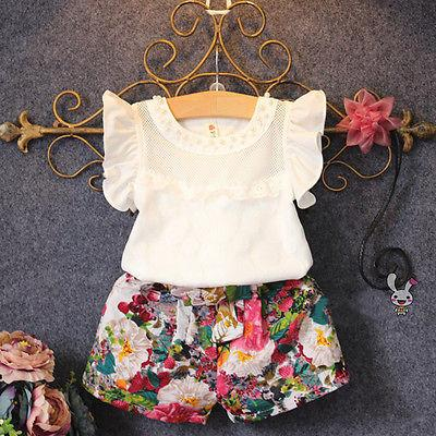 dcafeabe 2019 2017 New Fashion Cute Baby Girls Clothes Set Summer Petal Sleeve T  Shirt Top And Floral Shorts Little Girls Outfit Set From Humom, $39.69 |  DHgate.Com