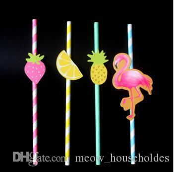Flamingos Pineapple strawberry and lemon paper pipe Honeycomb flamingos straws coc0ktail party supplies beehive accessories straw props