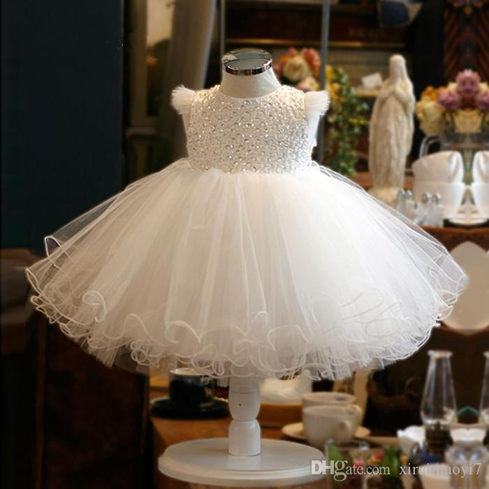 a8979663967 Cute Sequin White Tulle Baby Infant Toddler Baptism Gown Flower Girl Dresses  Sleevesless Beaded Lace Tutu Ball Gowns For Wedding Party Beautiful Girls  Dress ...