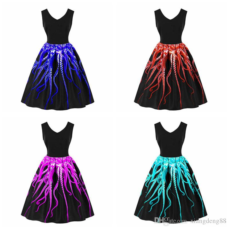 6e8defaf12 ... Printed V-neck Swing Dress Housewife Party Pinup A-line Sleeveless Dress  Summer Girls Plus Size Sundress Womens Dress Party Dress Womens Retro  Vintage ...