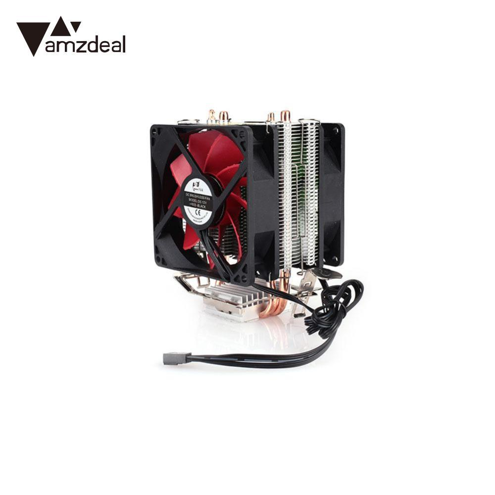 AMZDEAL GTFS CPU Silent Fan Cooling Dual Fan Cooler 2 Heatpipe Radiator CPU  Cooler Heatsink Radiator For Intel AMD Computer