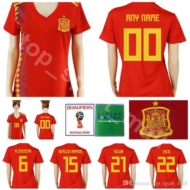 3045f15bc 2019 Women Spain Jersey Lady 2018 World Cup Soccer 6 INIESTA 15 SERGIO RAMOS  21 SILVA 22 ISCO 19 DIEGO COSTA Football Shirt Woman Kits Uniform From ...