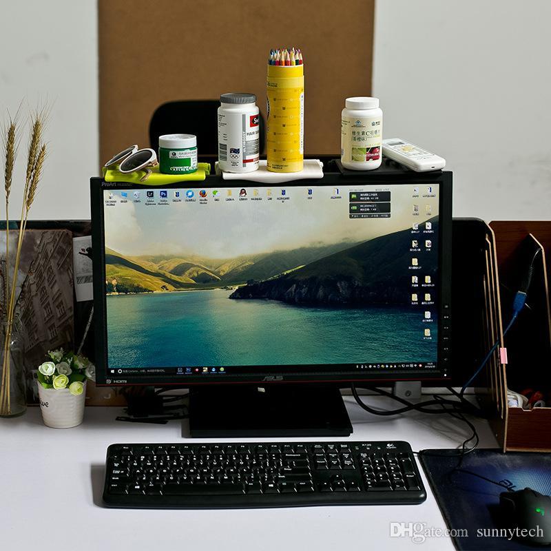 Multifunction Computer Screen Storage Rack Office Desktop Shelf Plastic Fold Storage Holder Organizer LZ1107