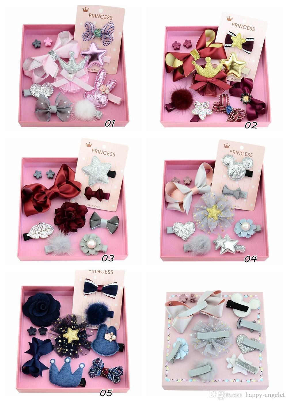 e2c2371b599 New Design Girls Kids Lovely Hairclip Heart Star Bow Crown Fur Ball Flower  Print Ribbon Bow Hair Accessory LH685 Hair Bands Bows Clips Baby Child Hair  ...