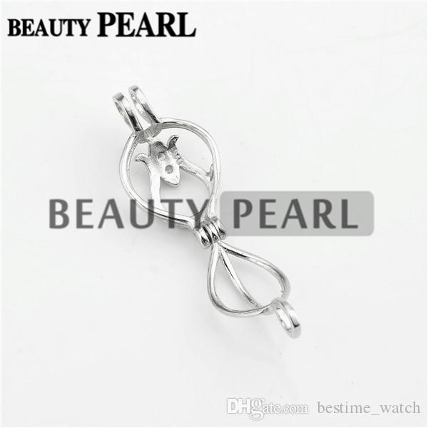 Bulk of Flower Buds Cage Locket Wishing Pearl Gift 925 Sterling Silver Cage Pendant