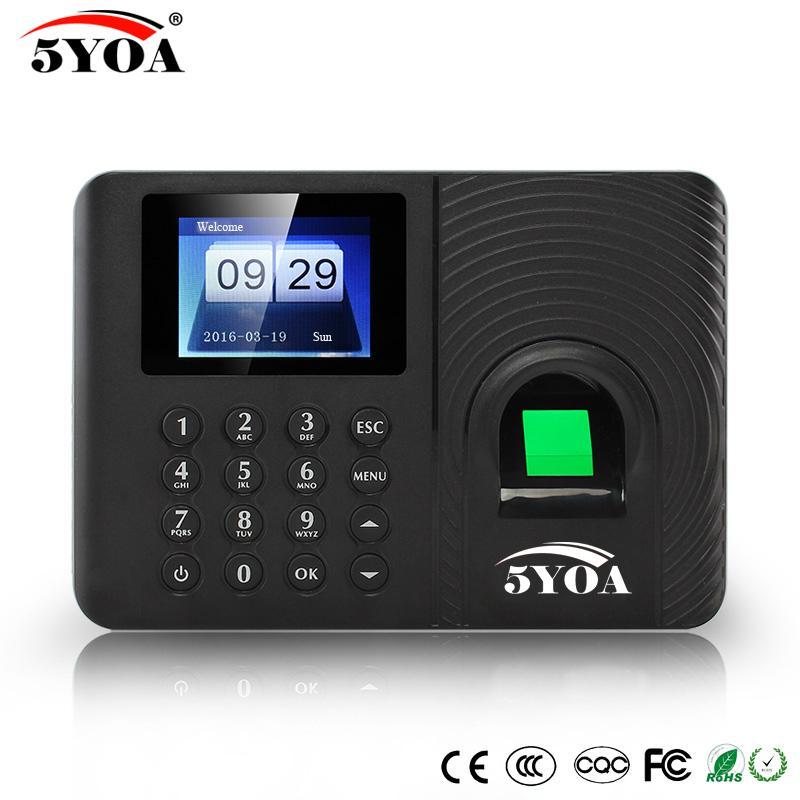5YOA A10 Biometric Fingerprint Time Attendance Clock Recorder Employee  Recognition Device Electronic English Spanish Machine