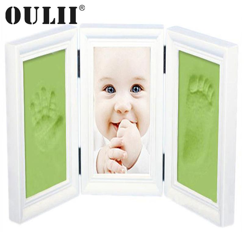 OULII Baby Handprint and Footprint Shower Gifts for Memories Inkpad Unique  Picture Frame Kit(White frame and green mud)