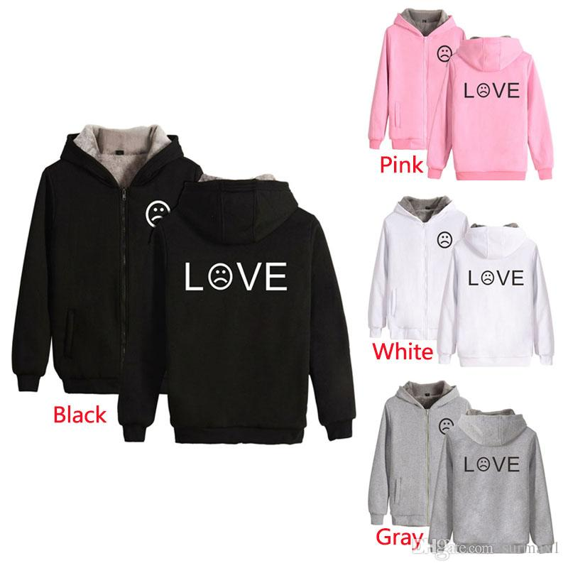 aaf1e276917 Large Size Couples Blouse Size 2XS-4XL Multi-color Winter Plus Velvet  Thicken Letters Printing Zipper Leisure Sports Hoodie Large Size Hoodie  Large Size ...