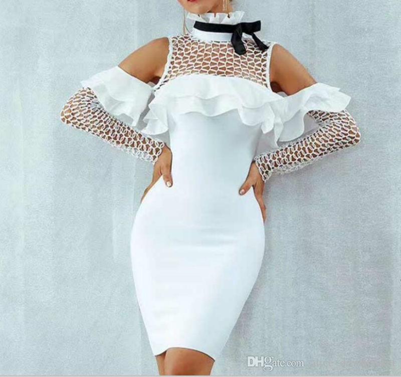 0e858e8bbd32 Acheter Manches Longues Mode Femmes Bodycon Dress Bandage Dentelle Blanche  Mini Soirée Club Robes De Soirée Robe Perspective Crayon Printemps Automne  Robes ...