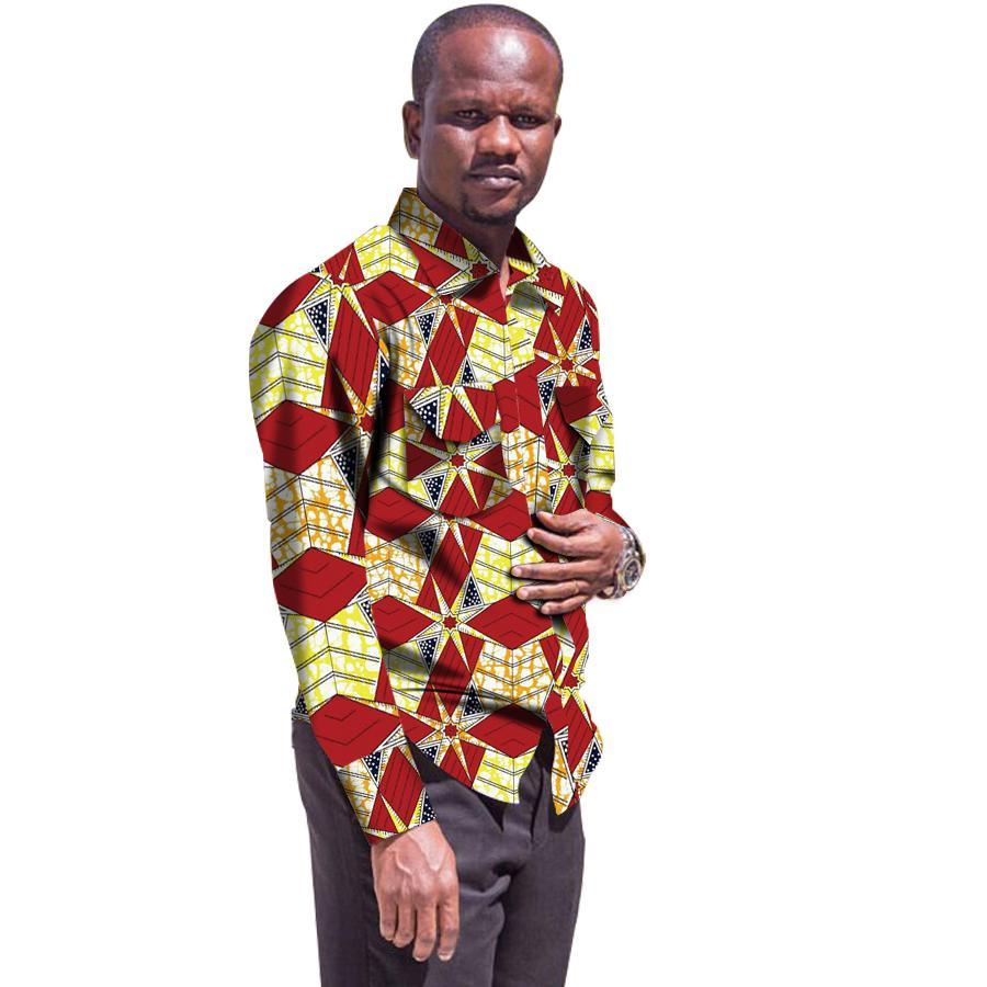 4c8aee8b Men's African Shirts Africa Festive Pattern Long Sleeve Shirts Men Fashion  Print African men Clothes Toxedo S