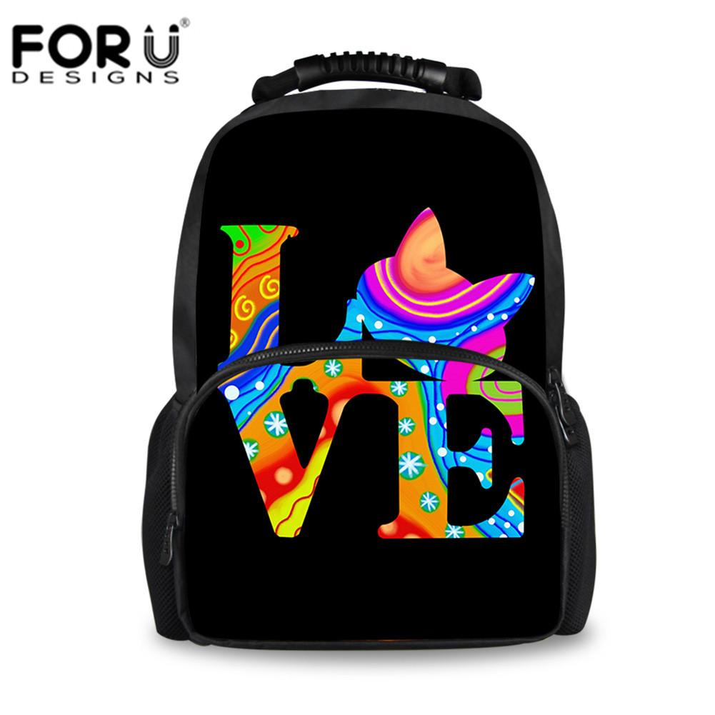 FORUDESIGNS Rainbow Love Cat Children School Bags Retro Schoolbag For Teenage  Girls Boys Large Capacity Shoulder Bag Tornister Hobo Bags Kids Backpacks  From ... 444c9e3f85ae7