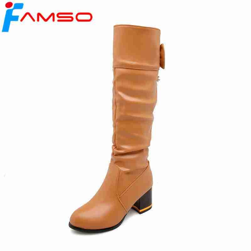 new products c6f0e 5f753 FAMSO 2018 nuove donne stivali neri stivali alti al ginocchio autunno  progettista tacchi alti piattaforme invernali moto scarpe per signora