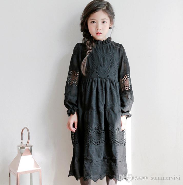 2019 Big Girls Autumn Dresses Kids Chiffon Embroidery Princess Dress