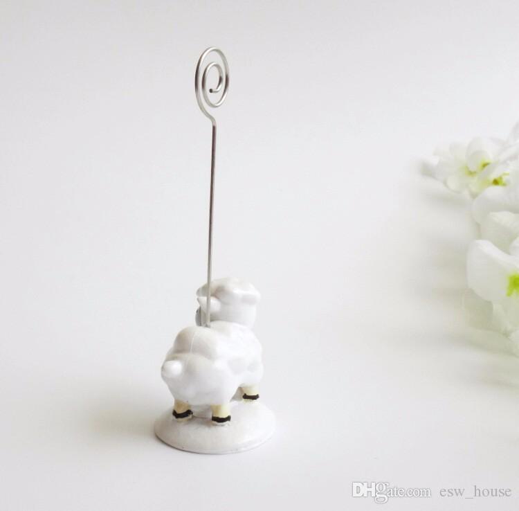 Güzel bebek koyun yer kart tutucu Güzel reçine mesaj notu klip Doğum Günü ve düğün parti dekorasyon Ücretsiz nakliye toptan şekeri