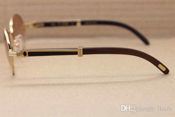 4 cores full frame círculo meatal óculos de sol de alta qualidade Pure natural búfalo preto perna 7550178 óculos de sol retro moda óculos de sol tamanho 57