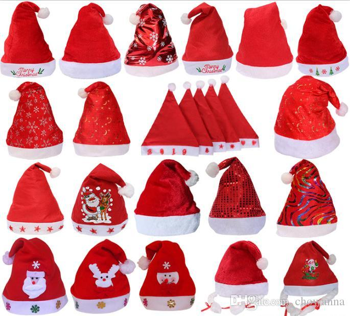 38aa9acd7a54e 2019 Newest Christmas Hats Red And White Cap Party Hats XMAS Hat ...