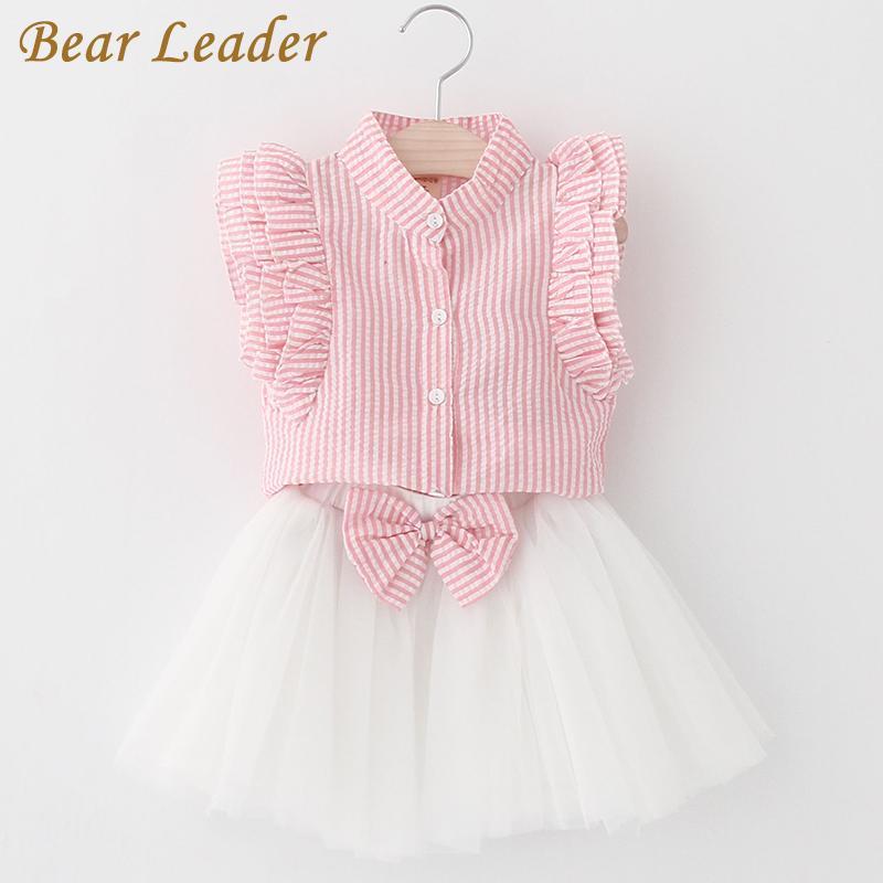 Bear Leader Girls Dress 2018 Cute Princess Dresses Summer Style Pink Stripend Sleeveless Shirt+Mesh Dress for Girls Clothes