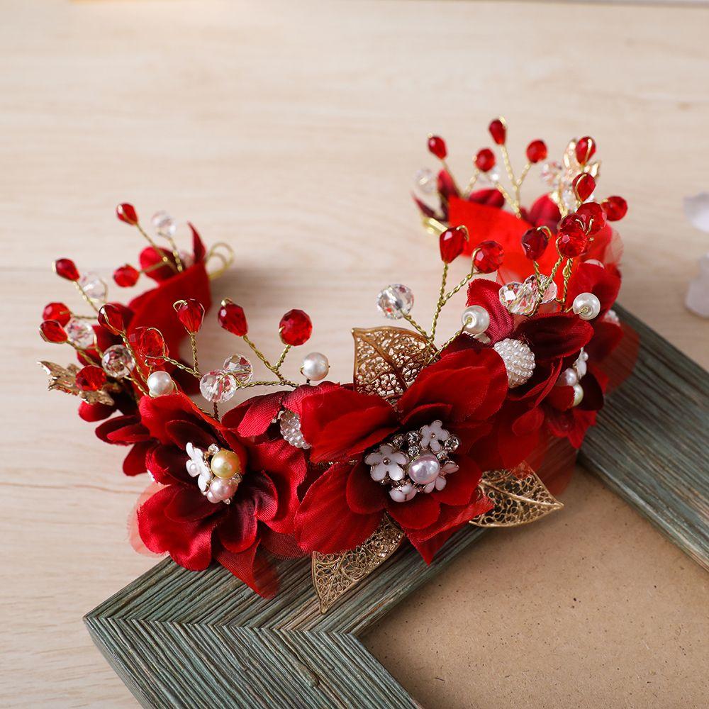 Acheter Superbe Fil Rouge Fleur Bandeau Couronne Tiara Princesse Or Couleur  Bandeau De Cheveux De Cheveux De Mariée De Mariage Parti Femmes Headpiece