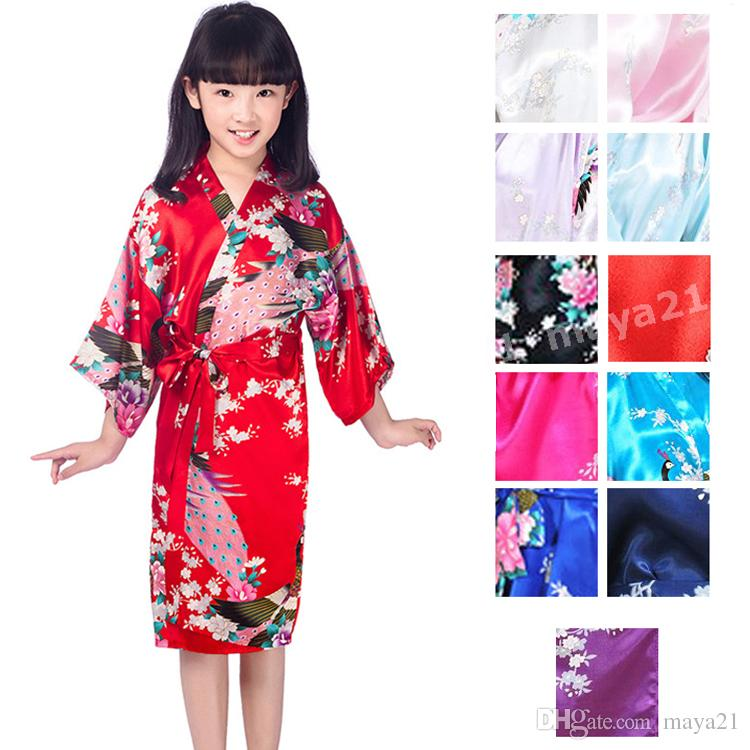 Kids Peacock Kimono Silk Satin Robe Flower Girl Mini Robes Junior  Bridesmaid Cheap Kimono Sparobe Bathrobes Mini Satin Robe For Sale Bridal  Apparel Wedding ... bf64c1254