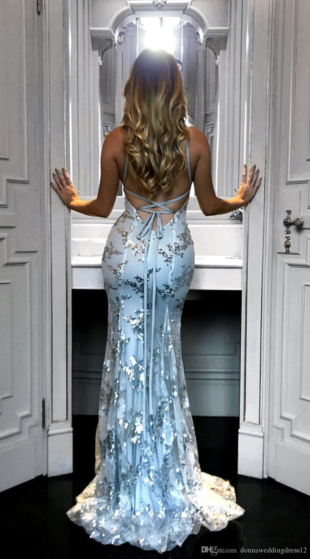 2018 abito grazioso sexy scollo a V Spahetti cinghie paillettes lungo della sirena di promenade d'argento Backless dei vestiti da sera femminile maxi vestito da partito poco costoso