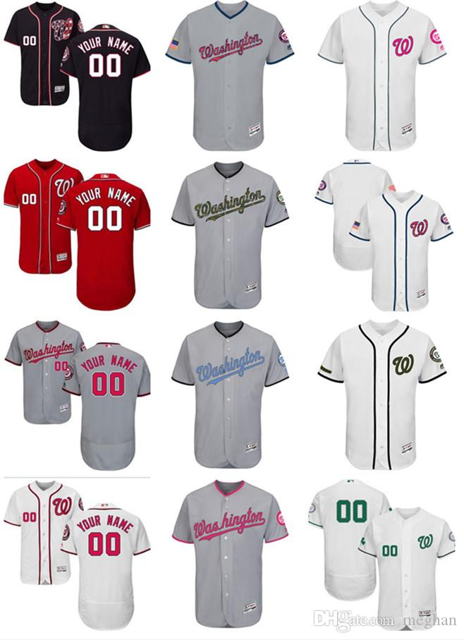 1233c40dfc8 2019 Custom Men Women Youth Majestic WA Nationals Jersey Personalized Name  And Number Home Red Nary Blue White Kids Girls Baseball Jerseys From Lauer