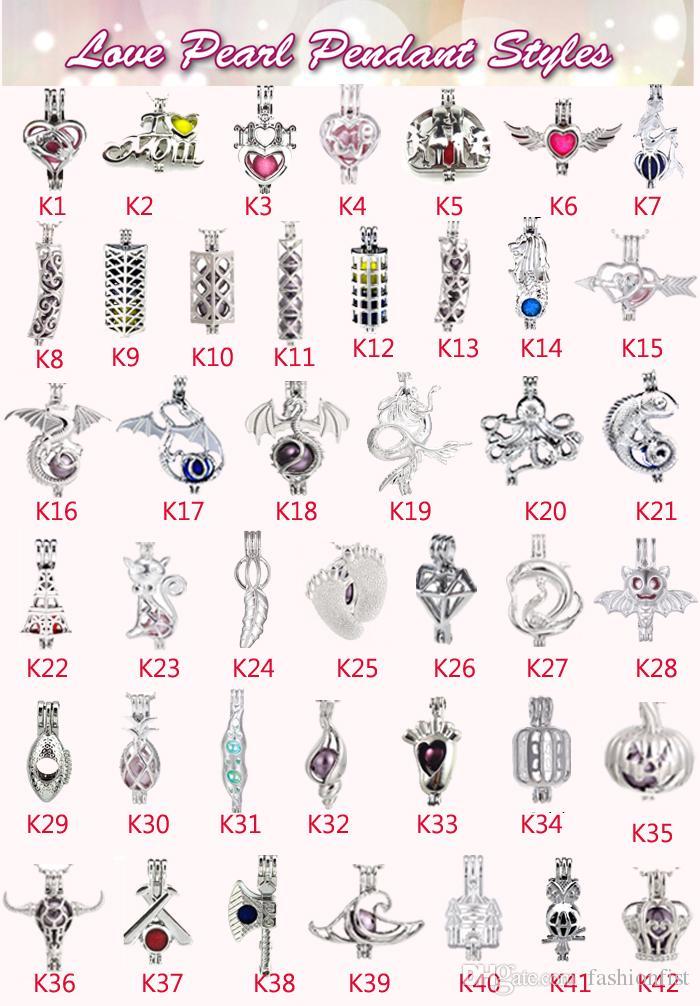Gratis DHL Ship 355 estilos En stock 18kgp love wish pearl / gem beads Locket jaulas Colgantes, DIY Pearl Necklace charm colgantes montura