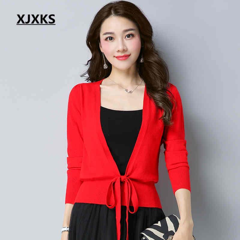 2019 XJXKS Sexy Long Sleeve Short Sweaters Ladies Clothing Outwear Lace Up  Design Hem Ulzzang Women Cardigans Sweater From Fangfen 72d161477