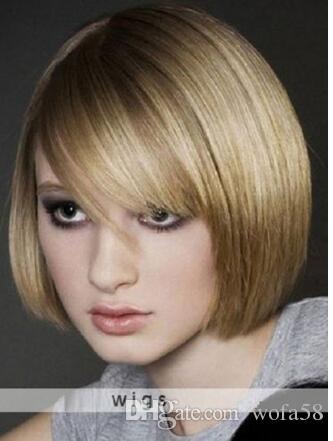 Wie Echthaarhigh End Wig Damen Kurz Glatt Blond Volle Perücken Wig