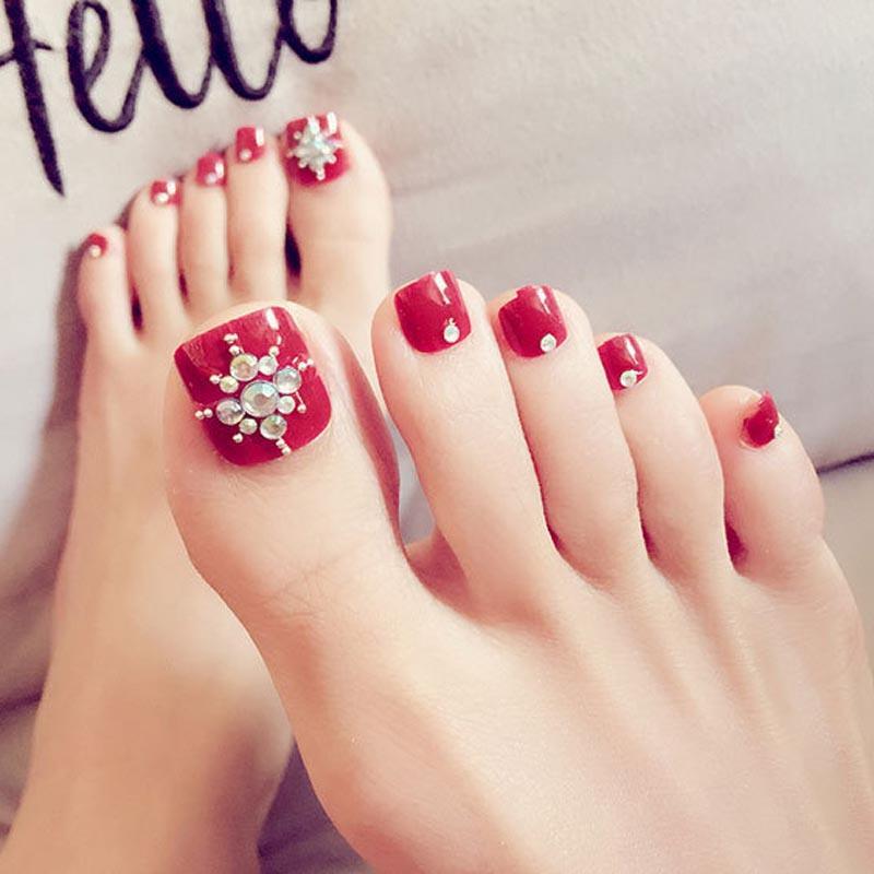 Women Foot False Nail Tips Shining Rhinestone Fake Toes Nails With ...