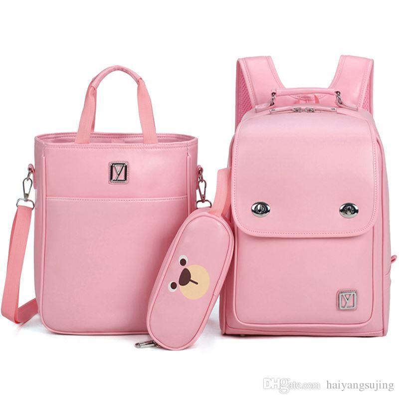 dd0c1f9406 Children School Bags For Boys Girls PU Schoolbag Backpack Waterproof  Satchel Kids Book Bag Mochila With Handbag Pencil Case Toddler Backpacks  Cheap ...