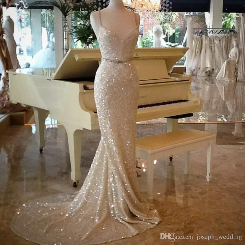 Shinning sequinedmermaid prom dresses long Sexy Spaghetti Sweep Train Mermaid Evening Gowns Cheap vestidos de novia Formal Wear Party Gowns