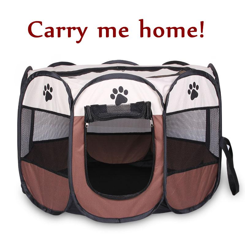 c1d63f7f2ff6 Portable Folding Pet Carrier Tent Playpen Dog Cat Fence Puppy Kennel Large  Space Foldable Exercise Play In House Or Outdoor