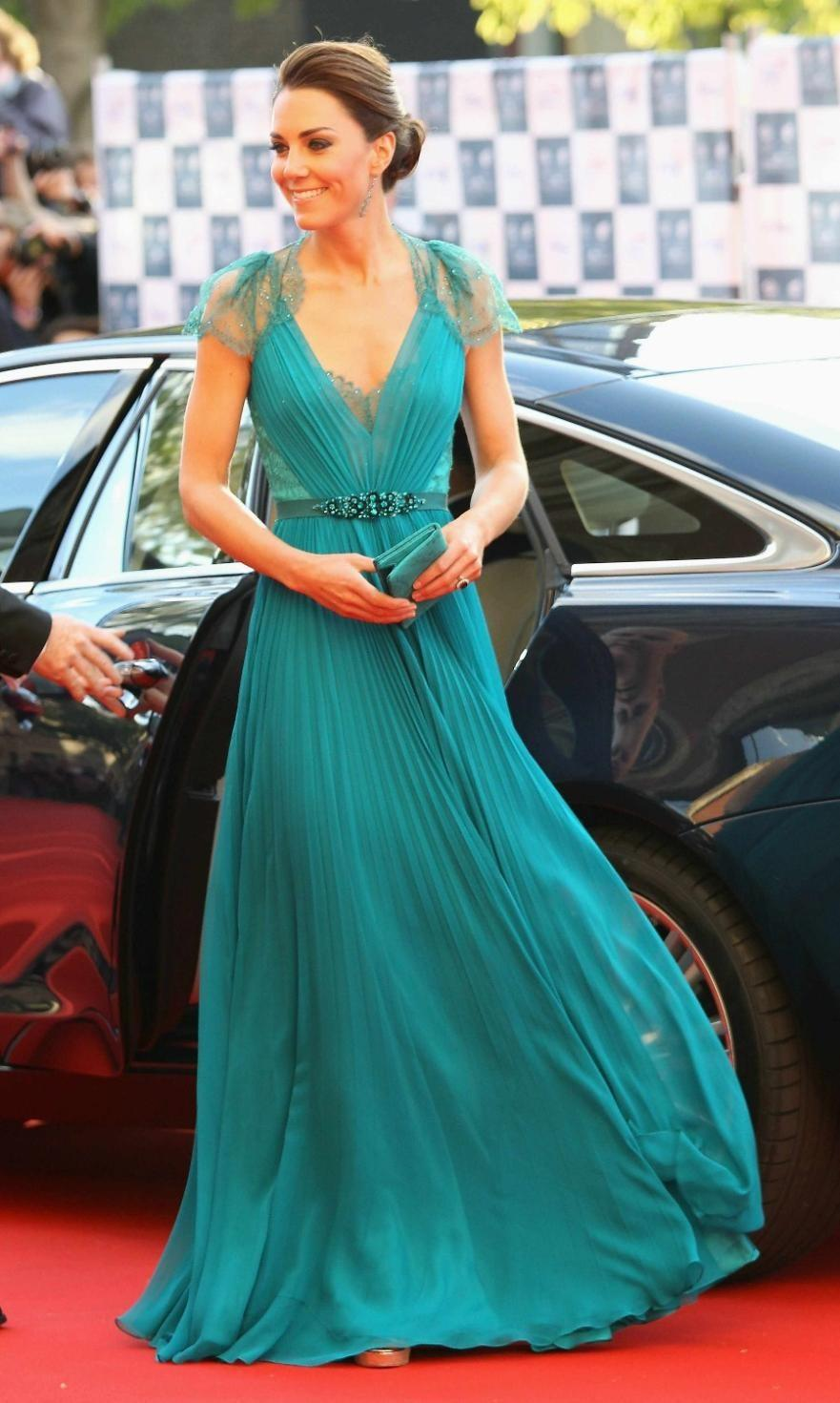 2018 Sexy V Neck Cap Sleeves Kate Middleton Jenny Packham Green Lace Evening Dresses Celebrity Red Carpet Dresses