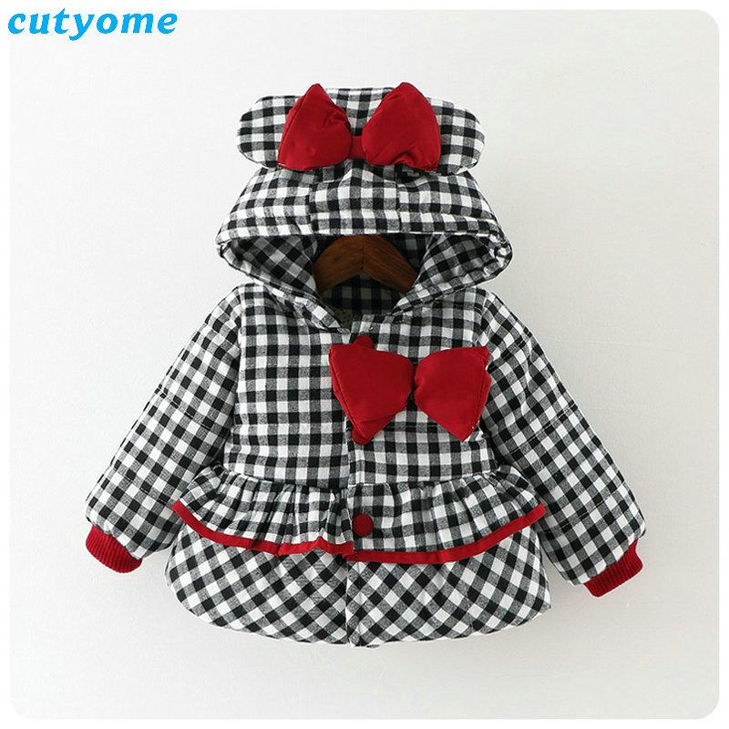 Cutyome Newborn Baby Girls Outwear Coats Hooded Plaid With Bow Cotton Winter Jackets Children Infant Padded Thick Jacket Clothes