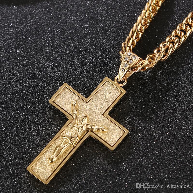 ecc31004164a Compre 60cm CZ Piedras Derechas Collar Con Cruz De Oro Para Hombre Cadena De  Eslabones De Acero Inoxidable Para Hombre Joyería Colgante A  13.06 Del ...