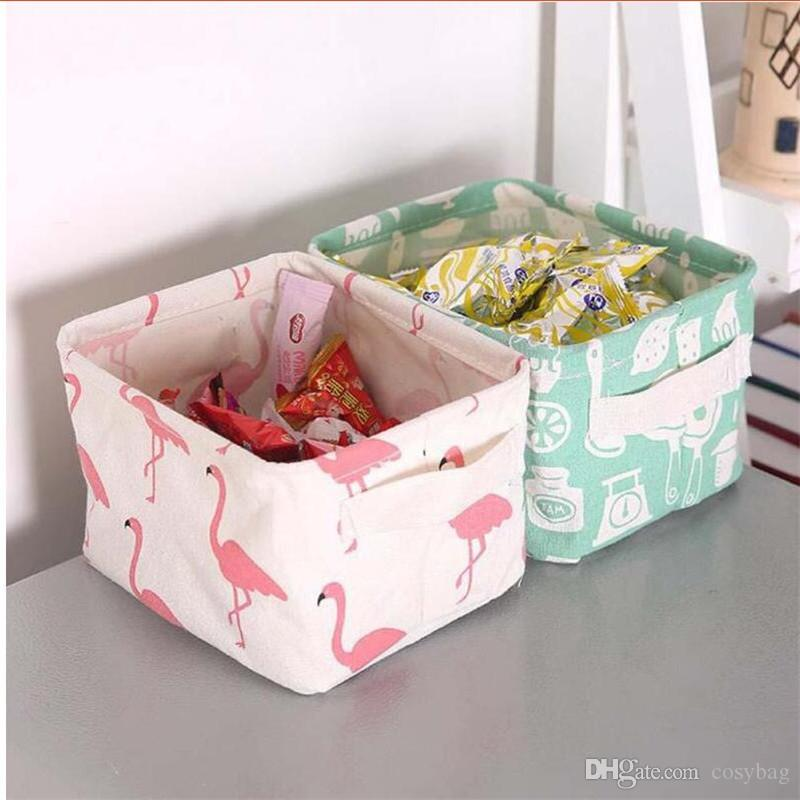 Square Collapsible Canvas Storage Box Foldable Kids Toys: 2019 Cute Canvas Storage Bins Waterproof Collapsible And