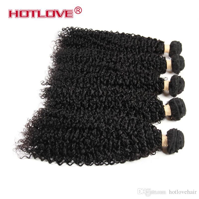 5 Paketler Kinky Kıvırcık Bakire Brezilyalı İnsan Saç Sınıf 8A Kaliteli İşlenmemiş Ham Afro Kinky Kıvırcık Doğal Siyah Dokuma Hotlove