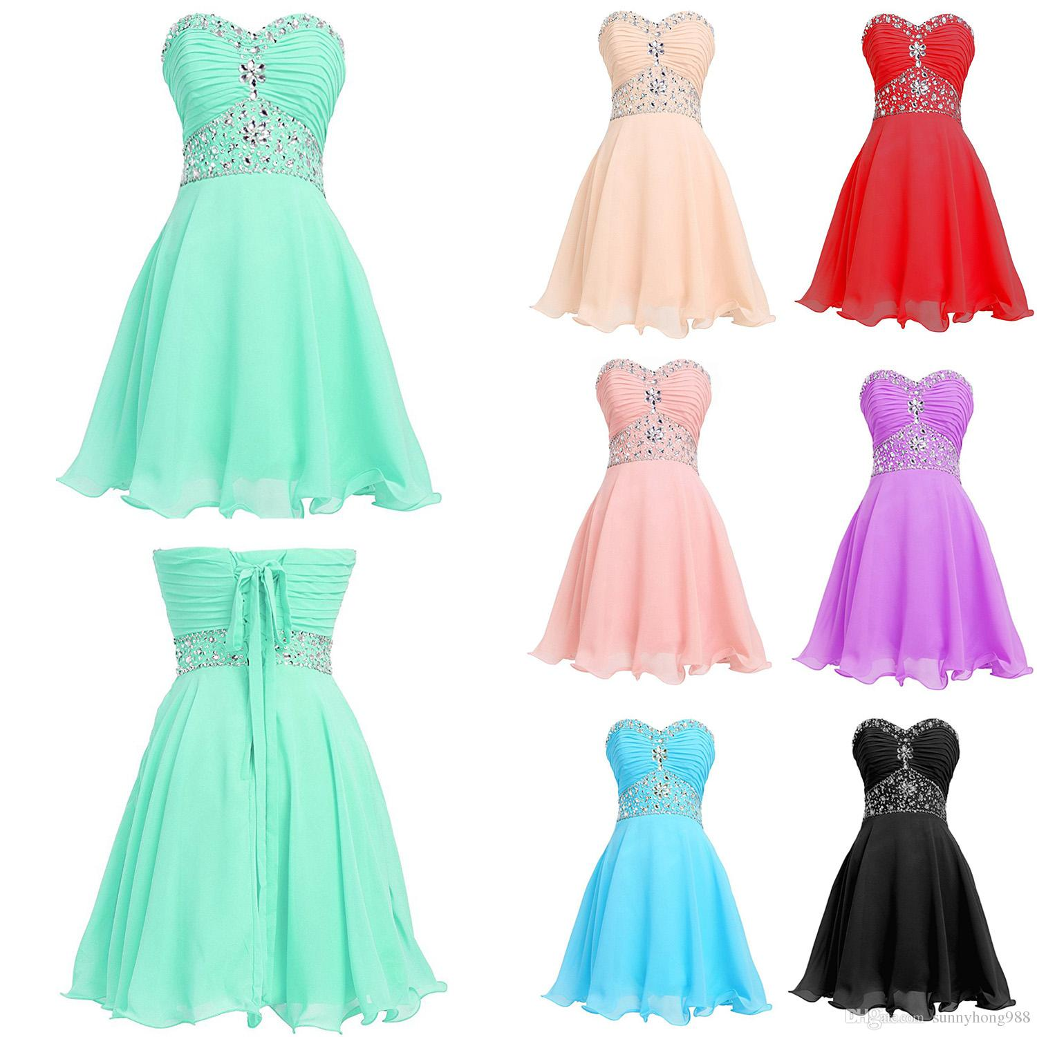 96daa4e8001 New Arrival Mint Green Chiffon Beaded Ruched Short Homecoming Dress Plus  Size Junior Sweet 16 Prom Gowns 2019 Ruffle Girls Cocktail Gowns Semi  Dresses White ...