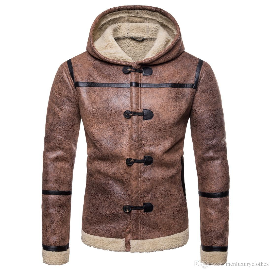 e617fcf515 Male Fashion Brown PU Leather Coats Winter Thick Designer EU Size  Motorbiker Cool Coats Jackets Male Fashion Brown PU Leather Coats Slim Fit  Designer ...
