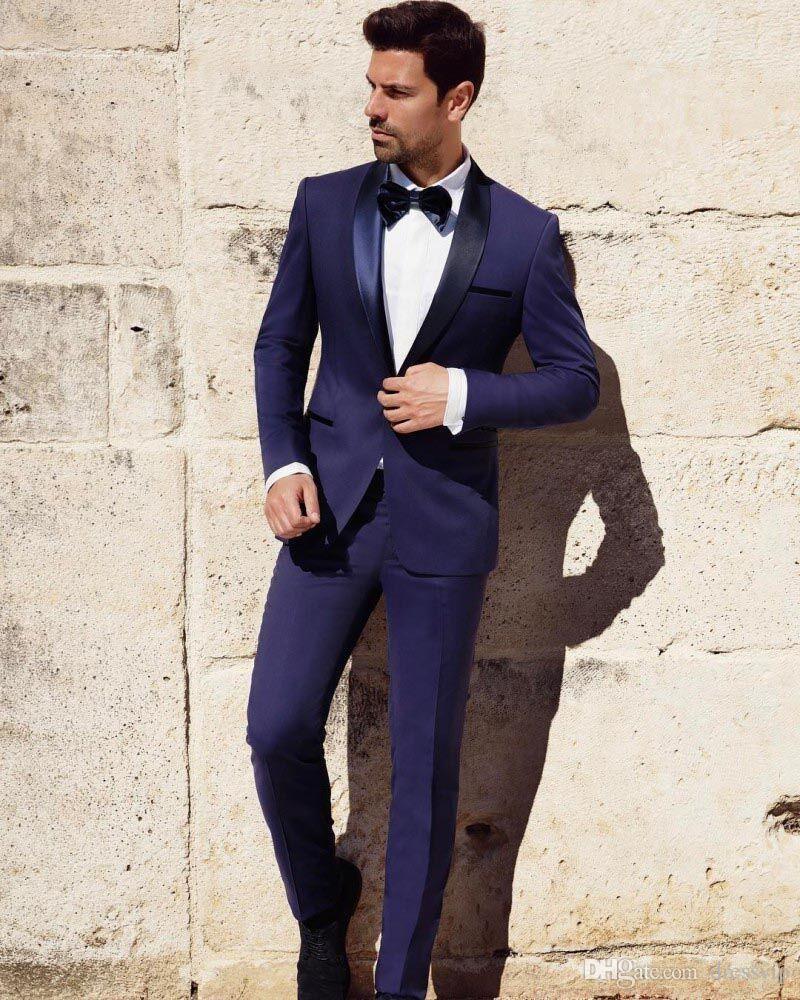 Dark Blue Groom Tuxedos Groomsman Slim Fit Business Suits Bridegroom Lapel Trim Custom Made Wedding Mens Suits Jacket+Pants