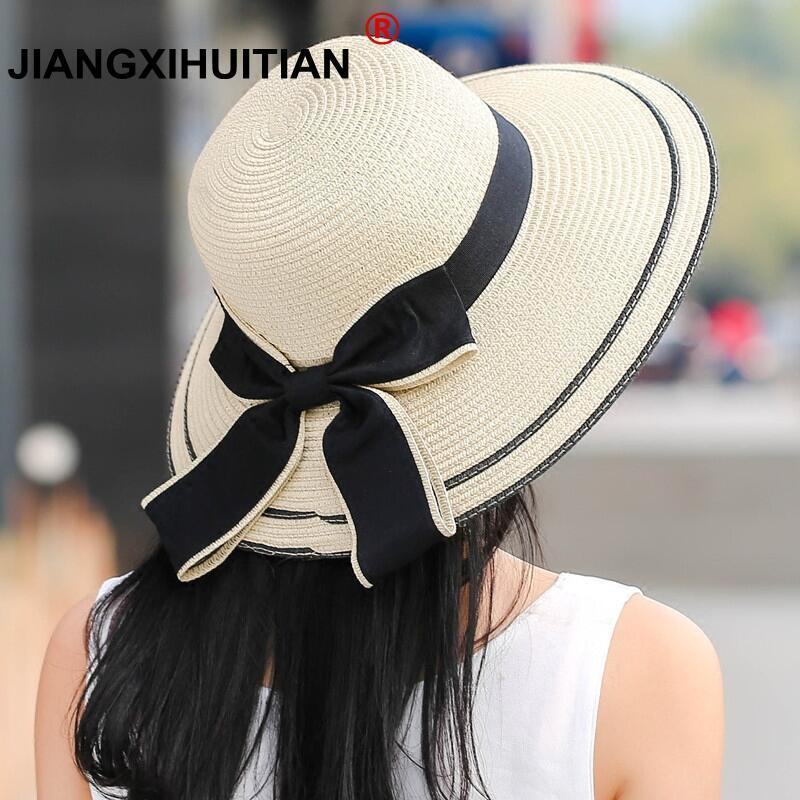 17e24846a803d Sun Hat Big Black Bow Summer Hats For Women Foldable Straw Beach Panama Hat  Visor Wide Brim Femme Female 2018 New Sunhat Eric Javits From Desertrose