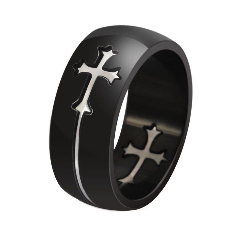 8мм Два Тона Два Креста Персонализированные укладки колец из нержавеющей стали - серебро, золото