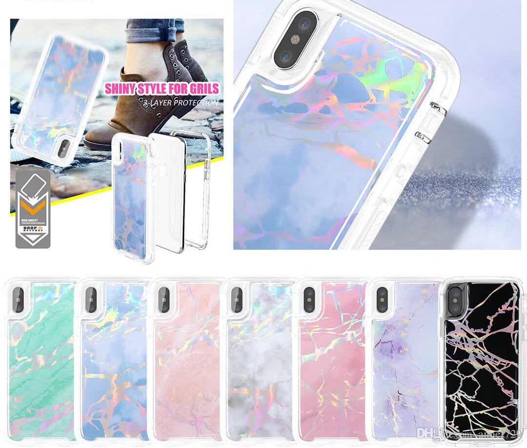3 في 1 رخام الحبوب ل iPhone X روبوت الهاتف الخليوي حالة تغطية شل لسامسونج S9 زائد