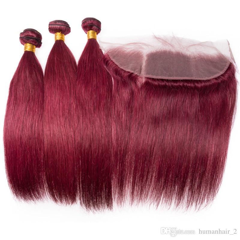 Девственные Малайзийские человеческие волосы бордовый переплетения пучки с фронтальной закрытием прямой # 99J вино красный человеческих волос ткет с 13x4 полный кружева фронтальной