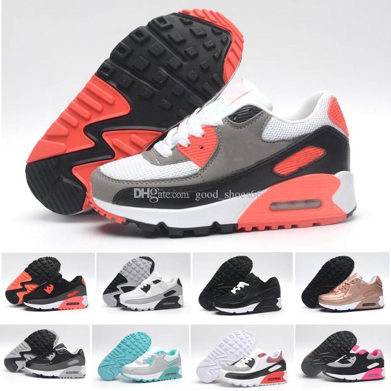 77d52d66ea36cf Großhandel 2018 Nike Air Max 90 Kids Fashion Atmungsaktive Klassische 90  Leder Schuhe Mit 8 Farben Kinder Gute Qualität Schuhe Für Jungen Designer  ...