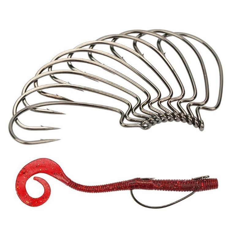 50 шт./коробка рыболовные крючки черный никель кривошипно крюк колючая крюк 5 Размеры из высокоуглеродистой стали мягкий червяк