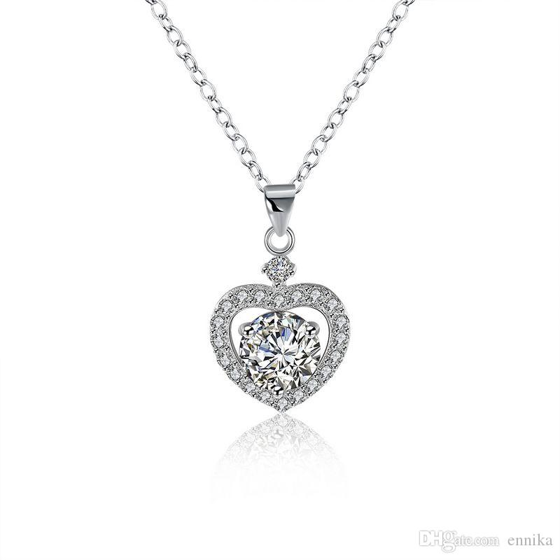 Sterling Silver 925 Necklace Lady Party Jewelry Pure Silver Heart Crystal Pendant Necklace n106