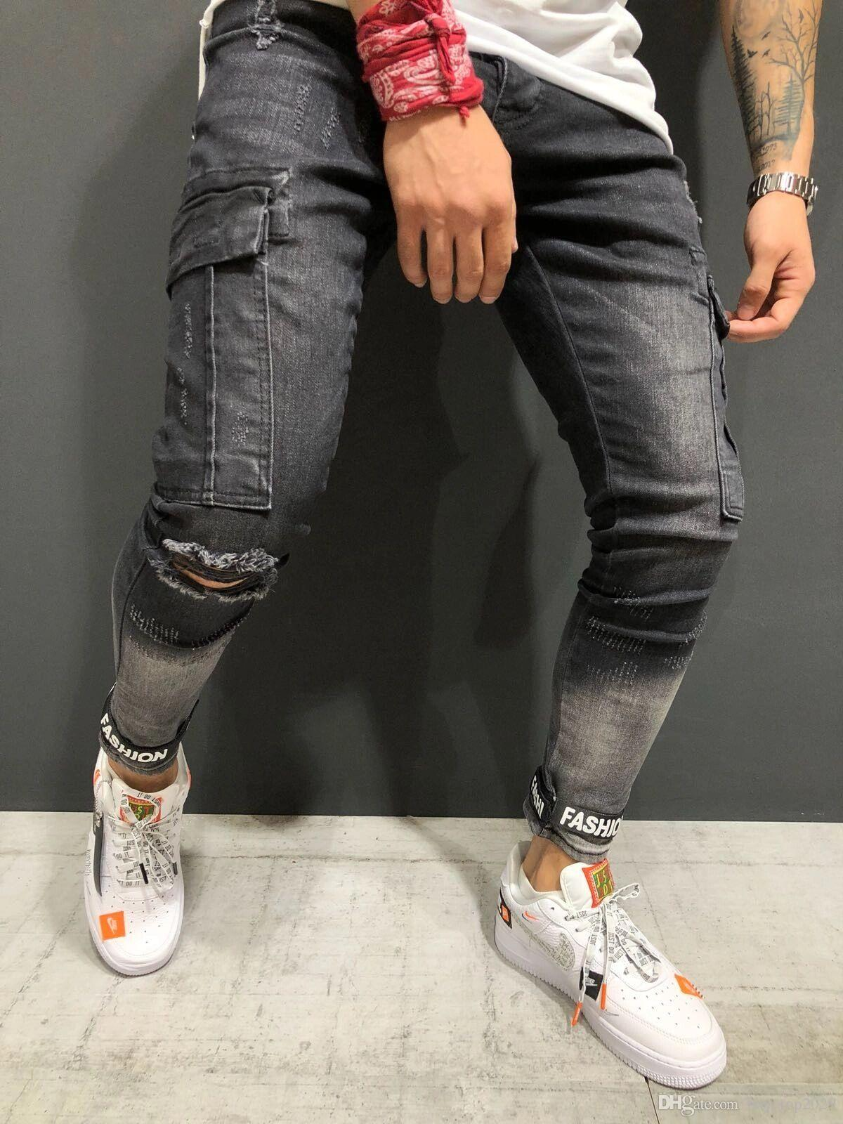 ed2a0a567b40 2019 HOT! 2018 Autumn And Winter Men S Slim Jeans Black Hole Boys Denim  Beam Mouth Men S Feet Pants 28 40 From Boy top2029